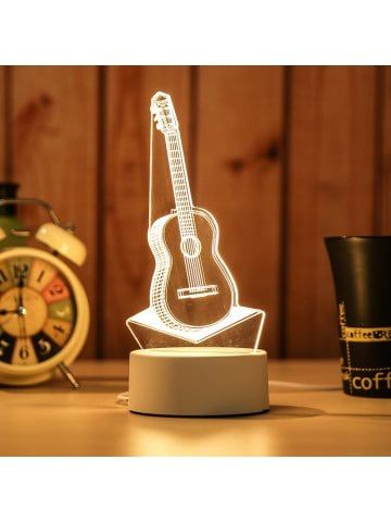3d Guitar Night Light Plug Led Stereo Bedroom Bedside Lamp Lampa Svetilniki