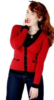Collectif Emily Polka Dot Cardigan in Red and Black www.blamebetty.com