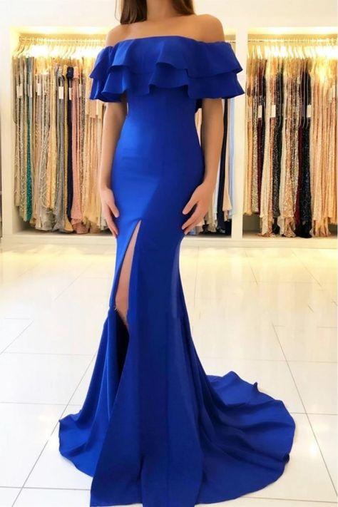 Mermaid Off-the-Shoulder Long Prom Dress Formal Evening Dresses #promdress #bluepromdress #bluepromdresseslong