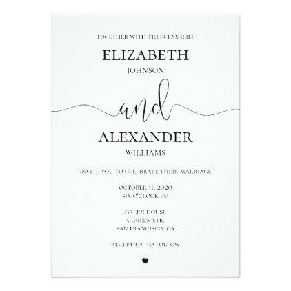 Black And White Wedding Invitation Simple Invite Zazzle Com