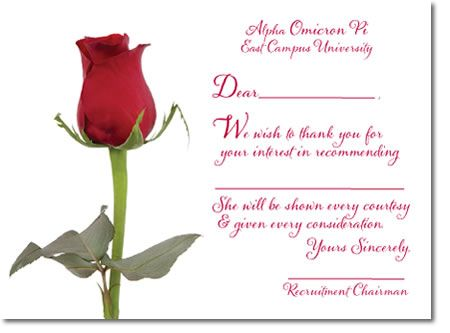 Alpha Omicron Pi Recommendation Acknowledgement  Thank You Card