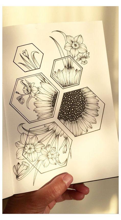 Art Drawings Beautiful, Art Drawings Sketches Simple, Pencil Art Drawings, Tattoo Drawings, Kunst Tattoos, Body Art Tattoos, Tatoos, Floral Skull Tattoos, Time Tattoos