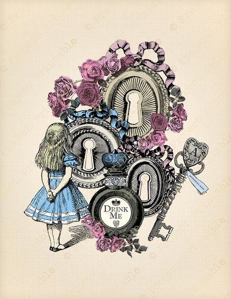 Alice in Wonderland Colour Digital Clip Art Graphics Printable - Drink Me & Key - Transfer Images - Instant Download - Art Collage