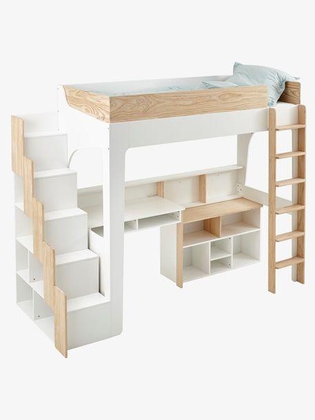 EASYSPACE Lit avec étagères blanc pour mezzanine combiné thdQsr