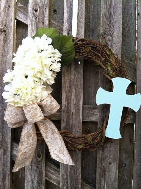 Easter Wreath / Cross Wreath/ Religious Wreath/ by jennyCmoon, $45.00
