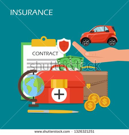 Stock Vector Insurance Concept Vector Flat Illustration Car On