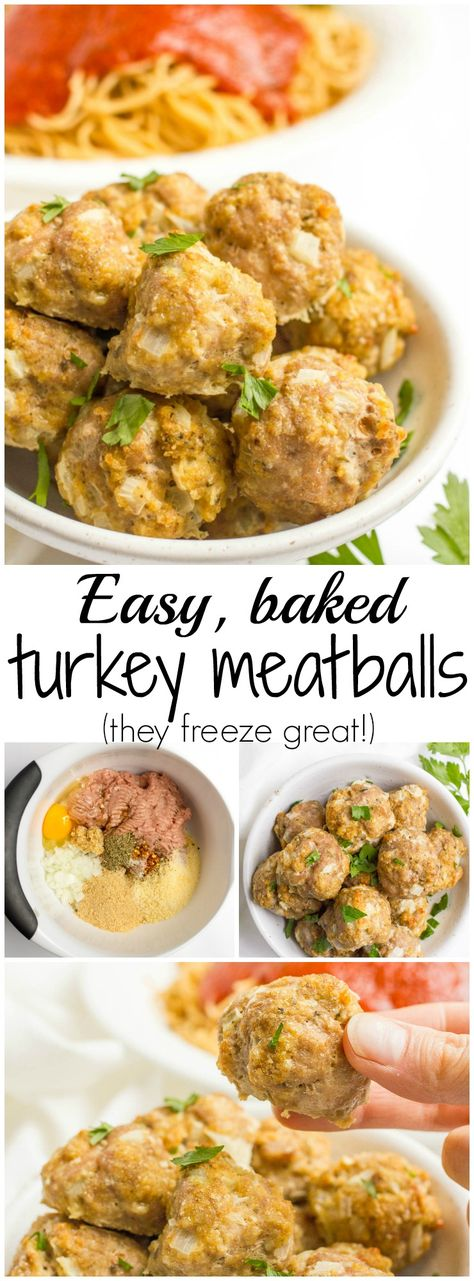 Easy homemade baked turkey meatballs - great for a healthy pasta dinner, a meatball sub, party appetizers or freezing for busy nights!