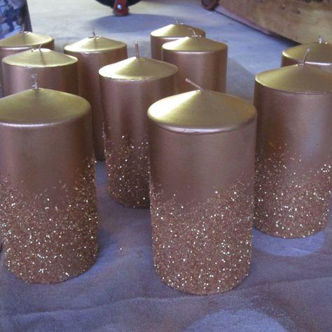 DIY Wedding candle centerpieces, dip the bottom of the candles in mod podge and glitter Keywords: #weddingcandles #jevelweddingplanning Follow Us: www.jevelweddingp... www.facebook.com/...