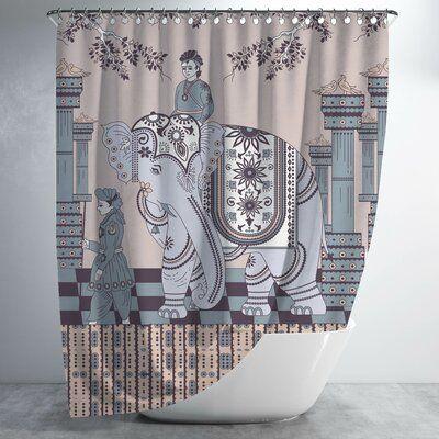 World Menagerie Paulette Elephant Rider 2 Piece Shower Curtain Set