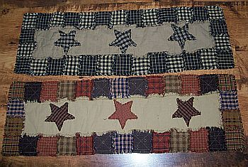 """Handmade very primitive runner that measures approx. 12""""x36""""  You can choose black & tea dye or the random (star design that matches the shower curtain/valance).   $25.99  www.backroad-hobbies.com"""
