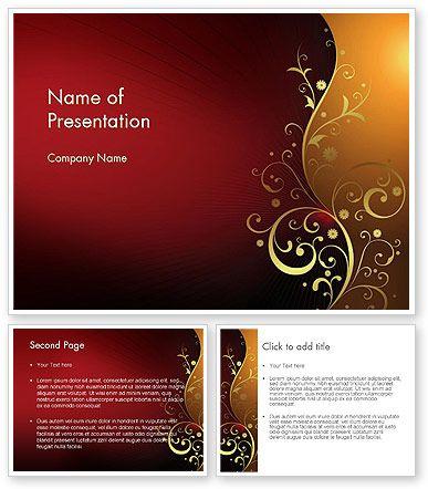 Golden Pattern with Swirls PowerPoint Template
