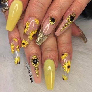 Sunflower Sunflowernails Longnailsdontcare Yellownails Swarovski Swarovskinails Encapsulatednail Sunflower Nails Sunflower Nail Art Coffin Nails Designs