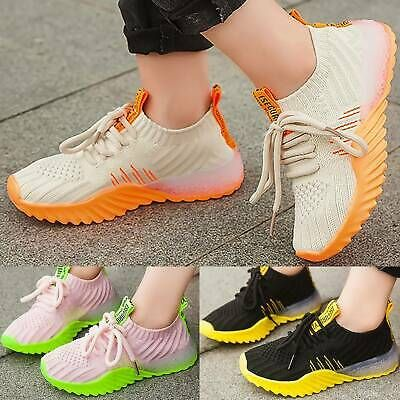 Blue Boys Girls Kids Sneakers Mesh Lace Up Tennis Shoes Sport Youth Breathable