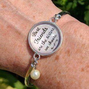 best friend bracelet stacking bangle quote jewelry best friends