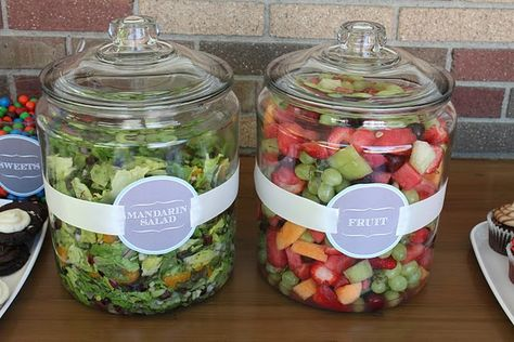 Great way to serve salad at an outdoor party---no bugs!  These jars are cheap at Walmart. Put them in a tray full of ice to keep em cool.
