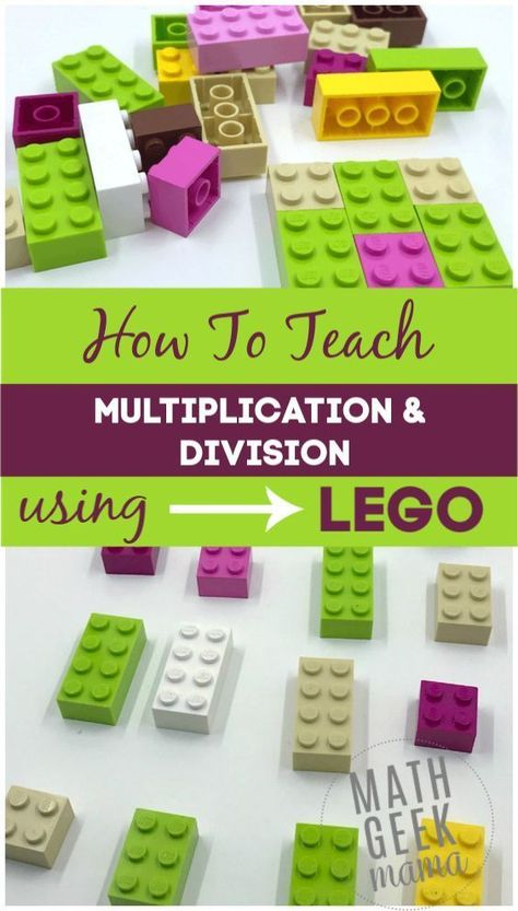 Make multiplication and division fun and hands on with LEGO bricks! In this post, learn all the different ways to model multiplication with LEGO and how to help kids make sense of division in a meaningful way. Multiplication Activities, Lego Activities, Multiplication And Division, Math Resources, Math Fractions, Division Activities, Numeracy, Maths Puzzles, Math For Kids