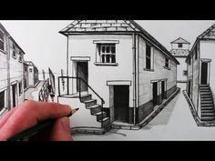 Dibujo De Una Casa Usando Un Punto De Fuga Para La Perspectiva Arte Orta Youtube Perspective Drawing 1 Point Perspective Point Perspective