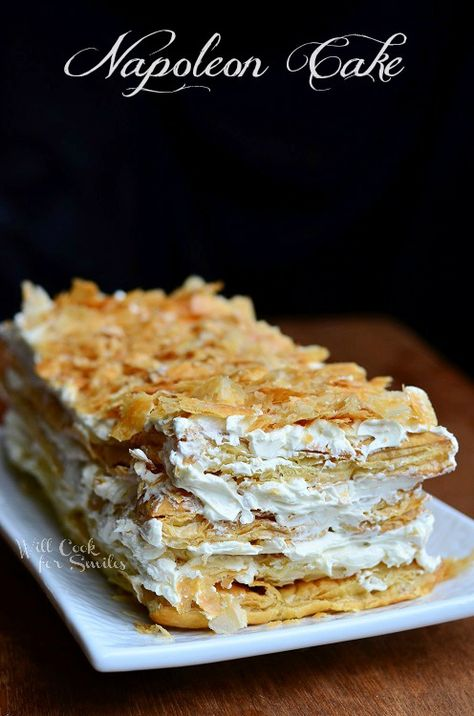 The mille-feuille vanilla slice, custard slice, also known as the Napoleon cake in Soain and milefeuille in France