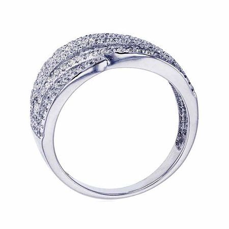 Sterling Silver Rhodium Peas In A Pod Pave Fashion Ring