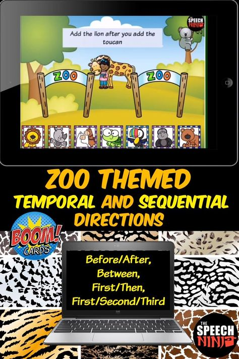 Zoo Themed Temporal and Sequential Directions Boom Cards