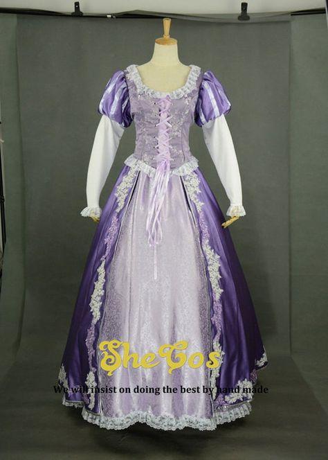Rapunzel costume adult ,Disney princess Tangled Rapunzel Dress Cosplay for women and kids