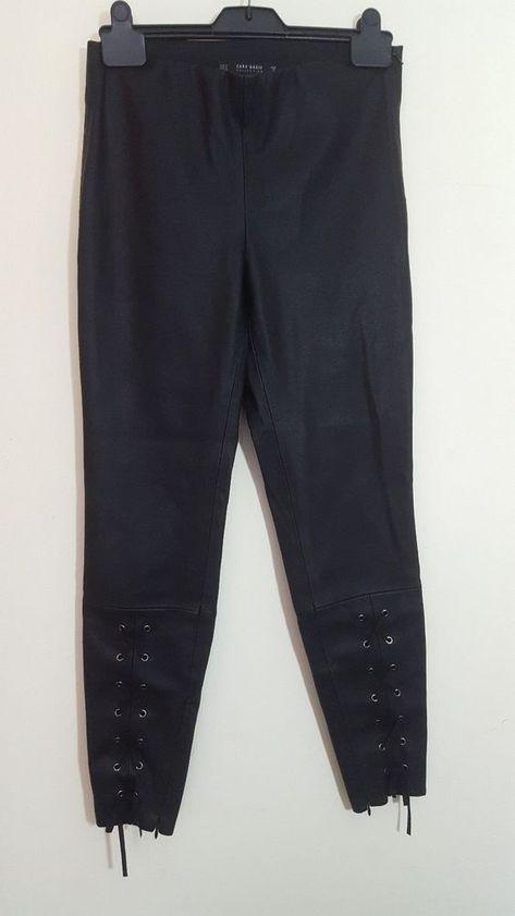 8d63d3d03bcfc4 Zara Basic Size S 10 12 Black PVC Faux Leather Trousers Leggings Capri Pants  #Zara #StraightLeg