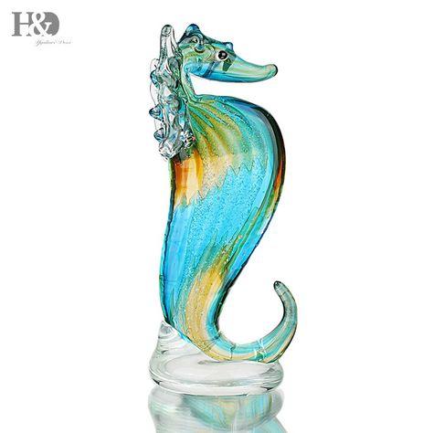 Blown Glass Elephant Figurine Murano Style Handicraft w// Swarovski Crystal
