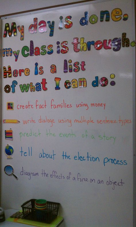 """From one of the elementary teachers in my district (Kristy White). Great presentation of daily objectives for each subject area written as """"I can"""" statements."""