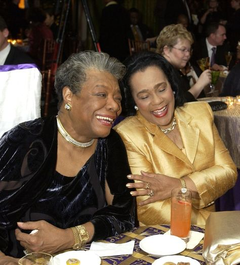 Coretta Scott King: Two powerful women in the civil rights movement sit and laugh together, as Maya Angelou and Coretta Scott King attend the 'Maya Angelou Life Mosaic' Collection by Hallmark in New York, New York. (Photo by KMazur/WireImage)