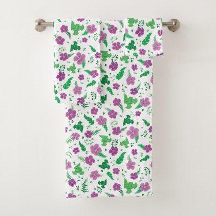 Purple Hibiscus Bath Towel Set Pattern Sample Design Template