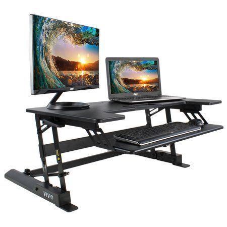 Vivo Height Adjustable Standing Desk Monitor Riser Gas Spring Black Tabletop Sit To Stand Workstation Desk V000b Walmart Com Adjustable Standing Desk Adjustable Height Standing Desk Desk Riser