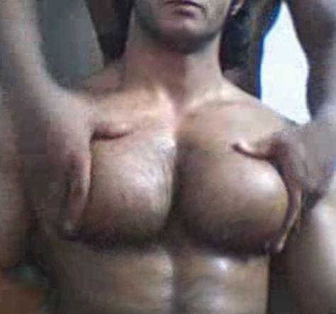 Hairy muscle pec worship