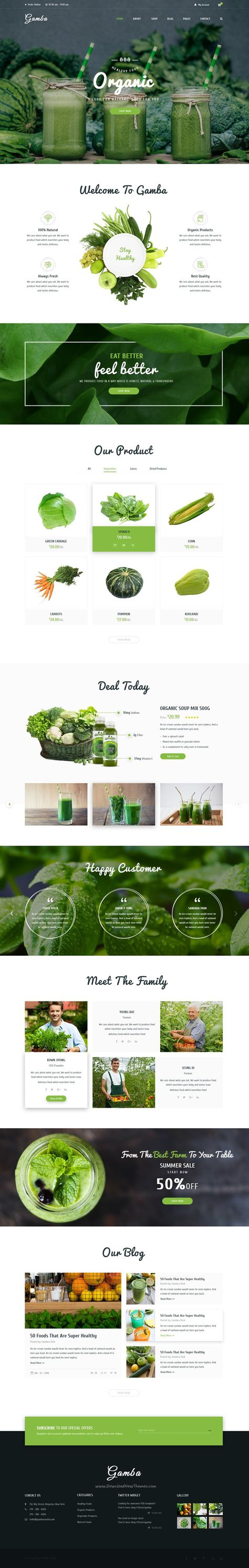 Gamba is a powerful, modern and creative #PSD template designed for food #organic #shop websites download now➯ https://themeforest.net/item/gamba-organic-psd-template/16928343?ref=Dataasata