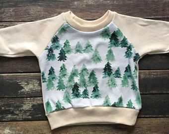 Organic Sweatshirt Forest In Snow Natural Baby Clothes Neutral Baby Clothes Winter Baby Outf Winter Baby Clothes Natural Baby Clothes Kids Winter Outfits