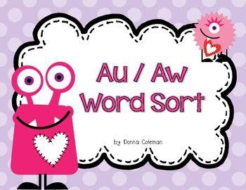 FREE - Valentine's Love Monster - au/aw Word Sort