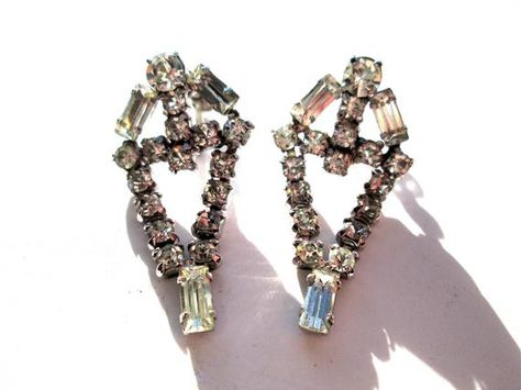 Old Hollywood jewelry Art Deco Rhinestone set Jay Flex Sterling brooch and earrings Signed jewelry
