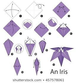 Step By Step Instructions How To Make Origami An Iris Flower Origami Lily Origami Flowers Instructions Origami Diagrams
