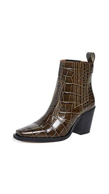 Ganni Western Boots In Calamata Croc Mod And Retro Clothing Western Boots Boots Shoe Boots