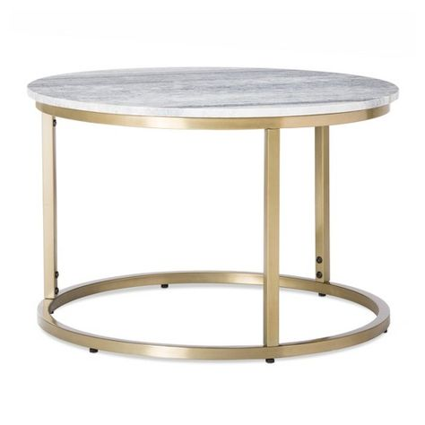 Small Marble Top Coffee Table Gold Threshold Interior