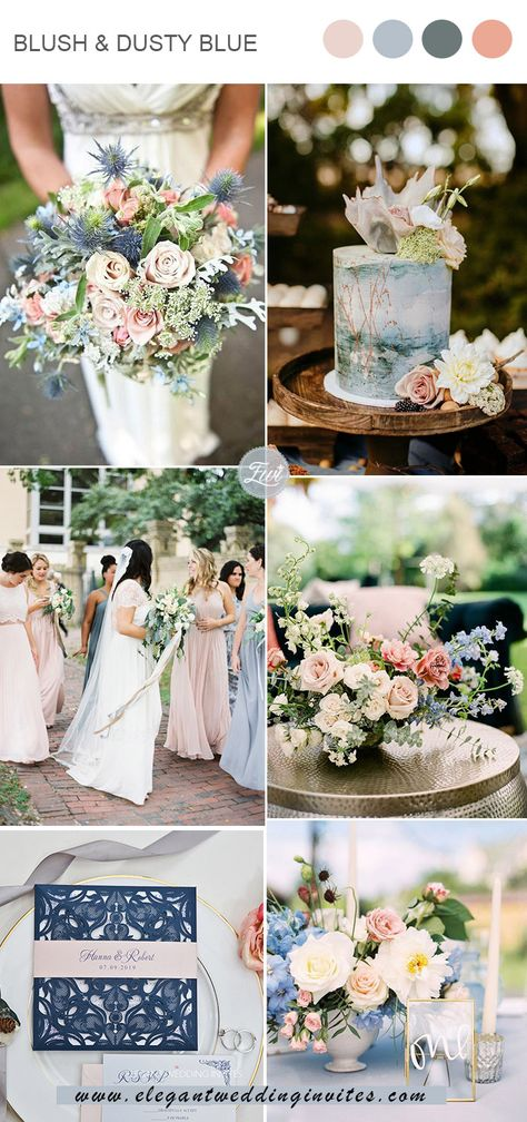 romantic blush and dusty blue spring and summer wedding colors Elegant Wedding Colors, Blush Wedding Colors, Blue And Blush Wedding, Spring Wedding Colors, Wedding Colour Themes, February Wedding Colors, Blush Wedding Palette, Pink Blue Weddings, Spring Wedding Invitations