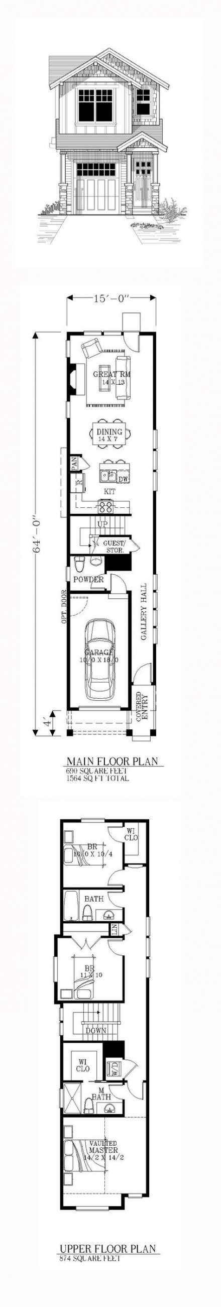 House Plans Long Narrow 52 Ideas Narrow House Plans Narrow Lot House Plans House Blueprints