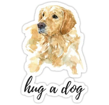 Hug A Dog Watercolor Golden Retriever Sticker By Daria Smith