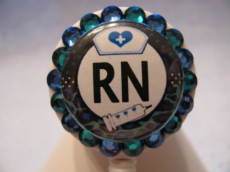 RN Nurse Swarovski Crystal Bling ID Badge Holder Retractable Reel Customizable ID Name Tag Holder. $11.00, via Etsy.