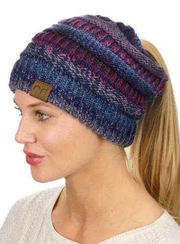 718a42992 14.89 | C.C BeanieTail Tribal Mix Soft Stretch Cable Knit Messy High ...