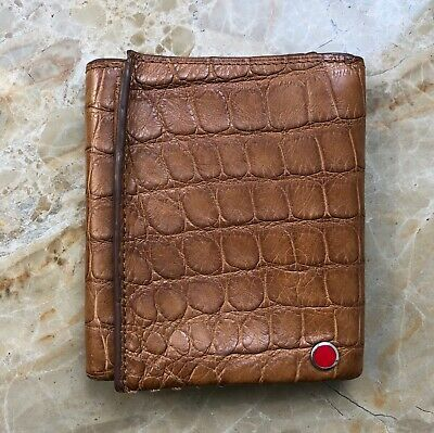 Genuine Crocodile Leather Mens Money Clip Belly Wallet Bifold ID Cards Handmade