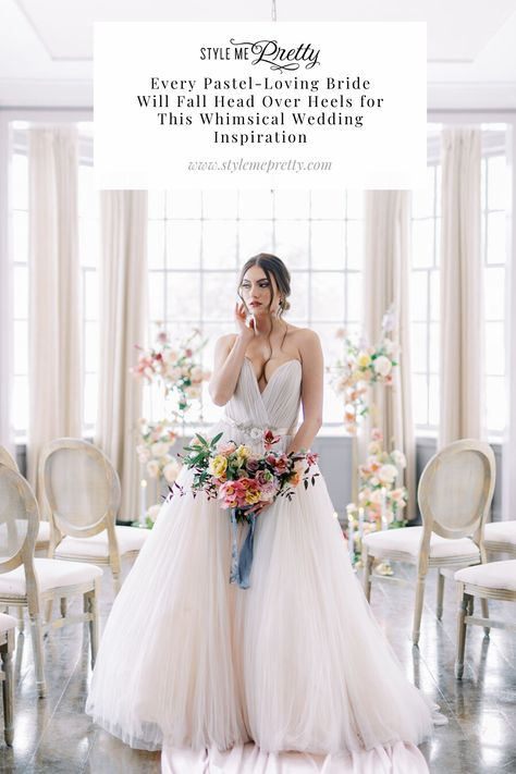 From gorgeous gowns to gold metals and fun velvet linens, @narellejanineevents left no detail unturned in today's whimsical editorial. We are seriously swooning over this playful color palette including powder blue, pale peach, and soft lavender hues. So if you're a pastel loving bride-to-be, head to SMP.com to fall head over heels for this whimsical wedding inspo! 💫   Photography: @whitneyheard  #whimsicalwedding #colorfulwedding #colorfulweddingflowers #whimsicalinspiration