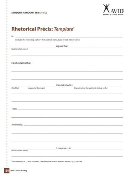 Rhetorical Precis Template 20 Templates Available For Free Download In Pdf And Word Document Template Sumo Rhetoric Teaching Ela Ap Lang