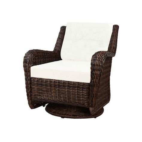 Hampton Bay Cambridge Brown Wicker Swivel Outdoor Rocking Chair
