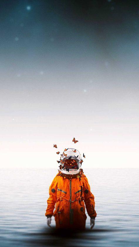 Astronaut spacesuit butterflies Iphone Wallpapers Hd - Best Home Design Ideas