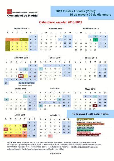 Calendario Escolar 2019 Madrid.Calendario Escolar 2018 2019 Madrid Vacaciones Calendario Escolar
